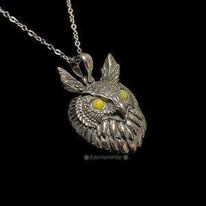 Custom Regal Owl Sterling Silver Pendant w/chain